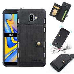 Brush Multi-function Leather Phone Case for Samsung Galaxy J6 Plus / J6 Prime - Black
