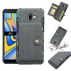 Brush Multi-function Leather Phone Case for Samsung Galaxy J6 Plus / J6 Prime - Gray