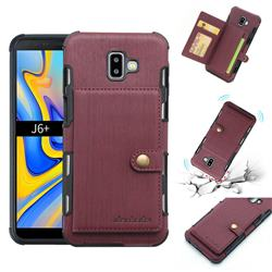 Brush Multi-function Leather Phone Case for Samsung Galaxy J6 Plus / J6 Prime - Wine Red