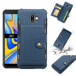Brush Multi-function Leather Phone Case for Samsung Galaxy J6 Plus / J6 Prime - Blue