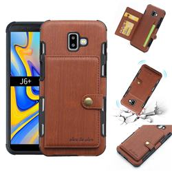 Brush Multi-function Leather Phone Case for Samsung Galaxy J6 Plus / J6 Prime - Brown