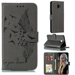 Intricate Embossing Lychee Feather Bird Leather Wallet Case for Samsung Galaxy J6 Plus / J6 Prime - Gray