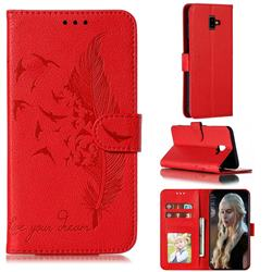 Intricate Embossing Lychee Feather Bird Leather Wallet Case for Samsung Galaxy J6 Plus / J6 Prime - Red
