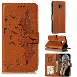 Intricate Embossing Lychee Feather Bird Leather Wallet Case for Samsung Galaxy J6 Plus / J6 Prime - Brown
