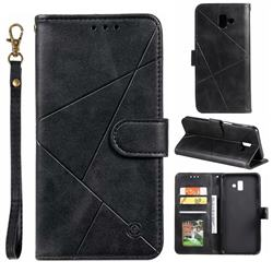 Embossing Geometric Leather Wallet Case for Samsung Galaxy J6 Plus / J6 Prime - Black