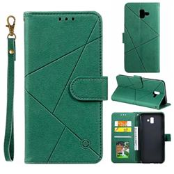 Embossing Geometric Leather Wallet Case for Samsung Galaxy J6 Plus / J6 Prime - Green