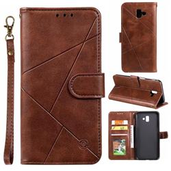 Embossing Geometric Leather Wallet Case for Samsung Galaxy J6 Plus / J6 Prime - Brown
