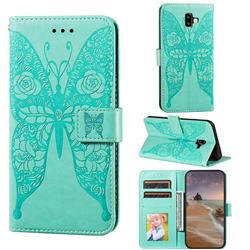 Intricate Embossing Rose Flower Butterfly Leather Wallet Case for Samsung Galaxy J6 Plus / J6 Prime - Green