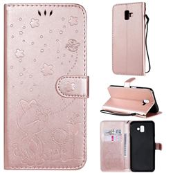 Embossing Bee and Cat Leather Wallet Case for Samsung Galaxy J6 Plus / J6 Prime - Rose Gold