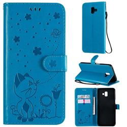 Embossing Bee and Cat Leather Wallet Case for Samsung Galaxy J6 Plus / J6 Prime - Blue