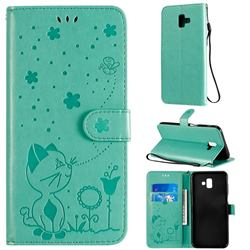 Embossing Bee and Cat Leather Wallet Case for Samsung Galaxy J6 Plus / J6 Prime - Green