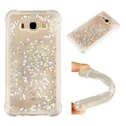 Dynamic Liquid Glitter Sand Quicksand Star TPU Case for Samsung Galaxy J7 2015 J700 - Silver