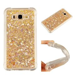Dynamic Liquid Glitter Sand Quicksand Star TPU Case for Samsung Galaxy J7 2015 J700 - Diamond Gold
