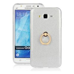 Luxury Soft TPU Glitter Back Ring Cover with 360 Rotate Finger Holder Buckle for Samsung Galaxy J7 2015 J700 - White