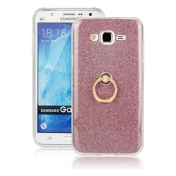 Luxury Soft TPU Glitter Back Ring Cover with 360 Rotate Finger Holder Buckle for Samsung Galaxy J7 2015 J700 - Pink