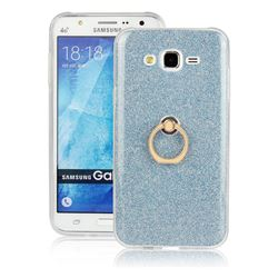 Luxury Soft TPU Glitter Back Ring Cover with 360 Rotate Finger Holder Buckle for Samsung Galaxy J7 2015 J700 - Blue