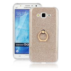 Luxury Soft TPU Glitter Back Ring Cover with 360 Rotate Finger Holder Buckle for Samsung Galaxy J7 2015 J700 - Golden