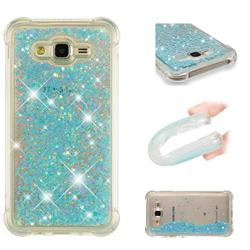 Dynamic Liquid Glitter Sand Quicksand TPU Case for Samsung Galaxy J7 2015 J700 - Silver Blue Star
