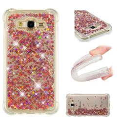 Dynamic Liquid Glitter Sand Quicksand TPU Case for Samsung Galaxy J7 2015 J700 - Rose Gold Love Heart