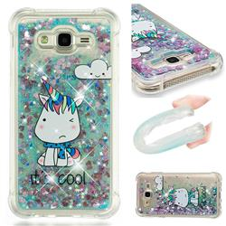 Tiny Unicorn Dynamic Liquid Glitter Sand Quicksand Star TPU Case for Samsung Galaxy J7 2015 J700