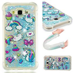 Fashion Unicorn Dynamic Liquid Glitter Sand Quicksand Star TPU Case for Samsung Galaxy J7 2015 J700