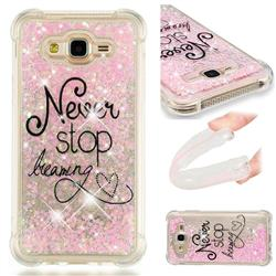Never Stop Dreaming Dynamic Liquid Glitter Sand Quicksand Star TPU Case for Samsung Galaxy J7 2015 J700