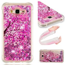 Pink Cherry Blossom Dynamic Liquid Glitter Sand Quicksand Star TPU Case for Samsung Galaxy J7 2015 J700