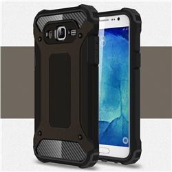 King Kong Armor Premium Shockproof Dual Layer Rugged Hard Cover for Samsung Galaxy J7 2015 J700 - Black Gold