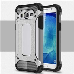 King Kong Armor Premium Shockproof Dual Layer Rugged Hard Cover for Samsung Galaxy J7 2015 J700 - Silver Grey