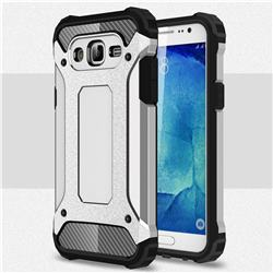 King Kong Armor Premium Shockproof Dual Layer Rugged Hard Cover for Samsung Galaxy J7 2015 J700 - Technology Silver