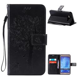 Embossing Butterfly Tree Leather Wallet Case for Samsung Galaxy J7 J700 - Black