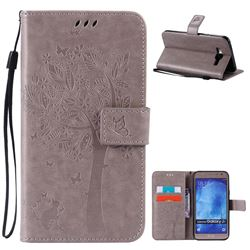 Embossing Butterfly Tree Leather Wallet Case for Samsung Galaxy J7 J700 - Grey