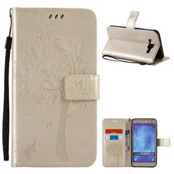 Embossing Butterfly Tree Leather Wallet Case for Samsung Galaxy J7 J700 - Champagne