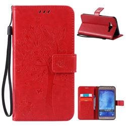 Embossing Butterfly Tree Leather Wallet Case for Samsung Galaxy J7 J700 - Red