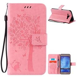 Embossing Butterfly Tree Leather Wallet Case for Samsung Galaxy J7 J700 - Pink