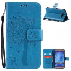 Embossing Butterfly Tree Leather Wallet Case for Samsung Galaxy J7 J700 - Blue