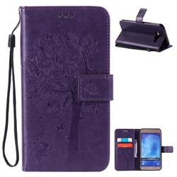 Embossing Butterfly Tree Leather Wallet Case for Samsung Galaxy J7 J700 - Purple
