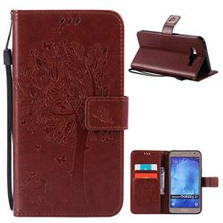 Embossing Butterfly Tree Leather Wallet Case for Samsung Galaxy J7 J700 - Brown