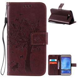 Embossing Butterfly Tree Leather Wallet Case for Samsung Galaxy J7 J700 - Coffee