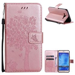 Embossing Butterfly Tree Leather Wallet Case for Samsung Galaxy J7 2015 J700 - Rose Pink