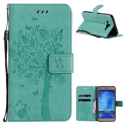 Embossing Butterfly Tree Leather Wallet Case for Samsung Galaxy J7 2015 J700 - Cyan