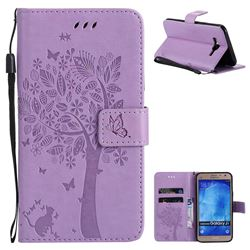 Embossing Butterfly Tree Leather Wallet Case for Samsung Galaxy J7 2015 J700 - Violet