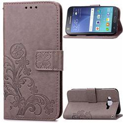 Embossing Imprint Four-Leaf Clover Leather Wallet Case for Samsung Galaxy J7 2015 J700F J700H J700M - Grey