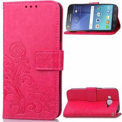 Embossing Imprint Four-Leaf Clover Leather Wallet Case for Samsung Galaxy J7 2015 J700F J700H J700M - Rose