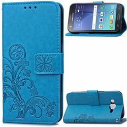 Embossing Imprint Four-Leaf Clover Leather Wallet Case for Samsung Galaxy J7 2015 J700F J700H J700M - Blue
