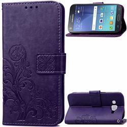 Embossing Imprint Four-Leaf Clover Leather Wallet Case for Samsung Galaxy J7 2015 J700F J700H J700M - Purple