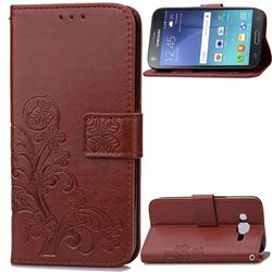 Embossing Imprint Four-Leaf Clover Leather Wallet Case for Samsung Galaxy J7 2015 J700F J700H J700M - Brown