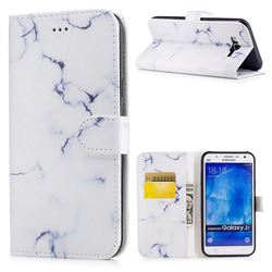 Soft White Marble PU Leather Wallet Case for Samsung Galaxy J7 2015 J700