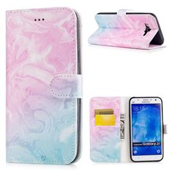 Pink Green Marble PU Leather Wallet Case for Samsung Galaxy J7 2015 J700