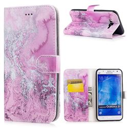 Pink Seawater PU Leather Wallet Case for Samsung Galaxy J7 2015 J700